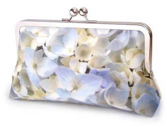 Hydrangea flower clutch bag, silk purse, blue cream flower petals, wedding purse, bridesmaid, gift for her, something blue