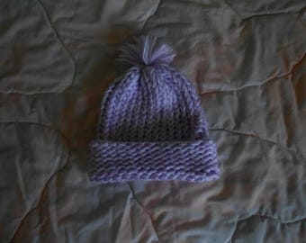Hand knit Purple & White Baby Hat