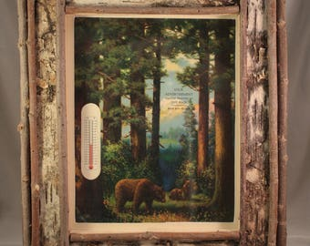 Vintage lithograph in twig frames - Rustic Scenes- Bears in the Woods, cabin decor, father's day