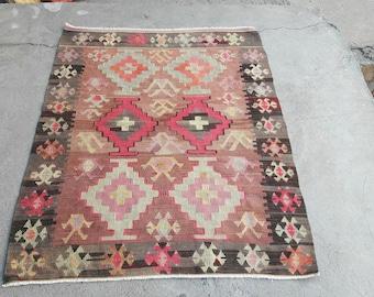 Turkish Kilim Rug, Turkish Oushak Rug,Vintage Rug,Entryway Rug, Area Rug,Oushak Rug, Turkish Vintage Rug Turkish Rug 4'6×3'4 feet-140×106 cm