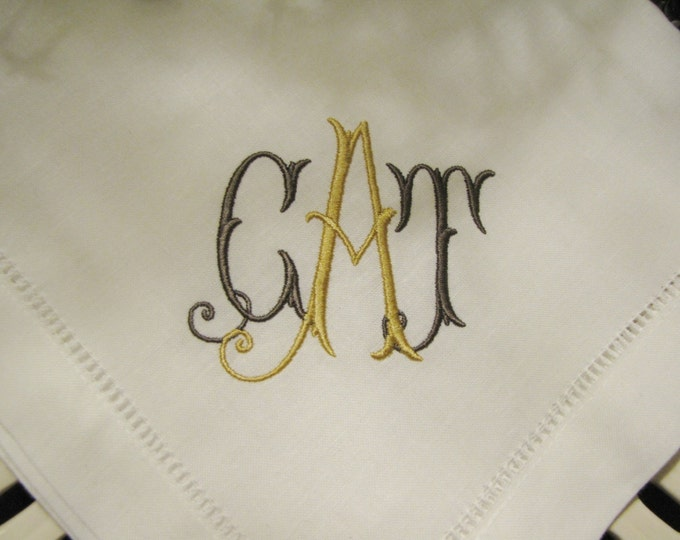 Set of Eight Custom Monogrammed Dinner or Luncheon Sized Napkins, Wedding Napkins, Bridal Shower, Bridal Luncheon
