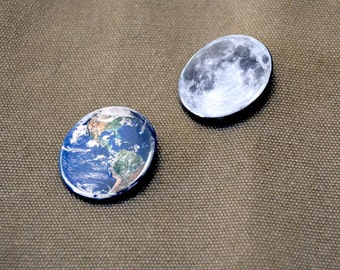 Moon and Earth Button Set - celestial accessory, lunar and earth pinback, full moon, United States, South America, NASA