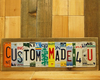 XLG 8-18 Pcs Custom-License-Plate-Sign-Gift-Customized Family Last Name Sign License Plate Name Sign Last Minute Gift OK