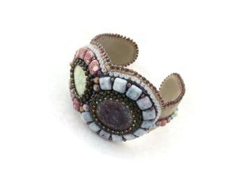 Bead embroidery bracelet - boho bracelet - multicolored beadwork bracelet - embroidered bracelet - adjustable cuff - Color Universe II