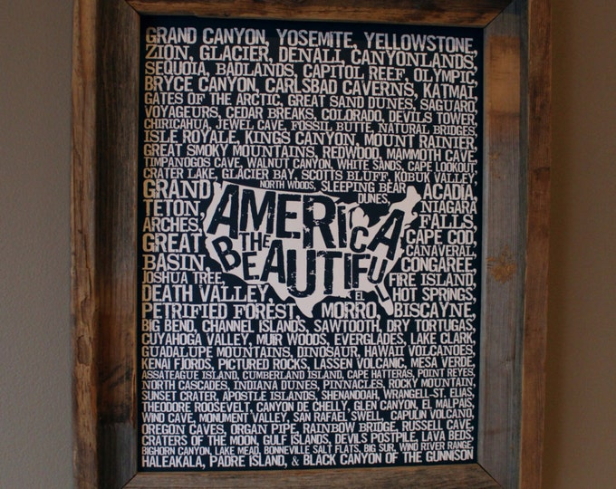 America the Beautiful Word Map (Dark Blue) - Unframed
