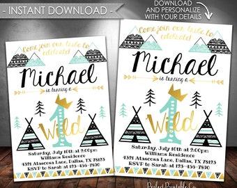 Wild One Birthday Invitation, Tribal Birthday Invitation, Teepee Invitation, Black Teal Mint Gold, Boy, Instant Download, Editable PDF #615