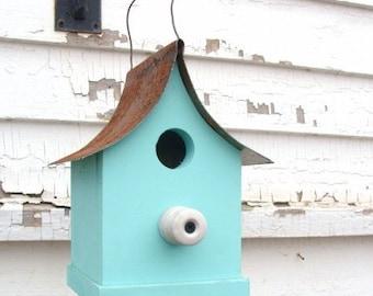 Rustic Cottage Birdhouse Garden Bird House Outdoor Wood Birdhouse Functional Bird House Blue Birdhouse