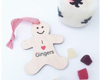 Little wooden gingerbread man, i love gingers, gift tag,keepsake, gift.