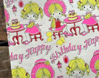 Vintage Birthday Gift Wrap - 1 Sheet - Vintage Wrapping Paper, Paper Ephemera, Unused Sheet, Happy Birthday Paper, Cute Girl Gift Wrap