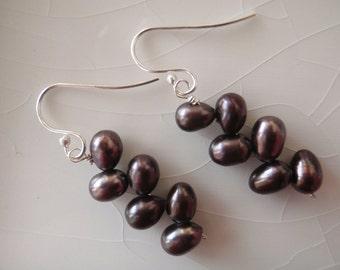 Freshwater Black/Brown Pearl & Sterling Silver Dangle Earrings