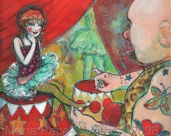 ACEO art reproduction - Circus Girl And The Strongman