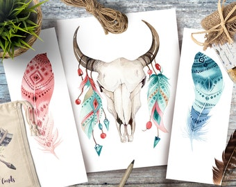 Set of original Bull Skull and feathers,  featherWatercolor Painting,wall Watercolour original art, Watercolor skull, Shabby Chic boho Art