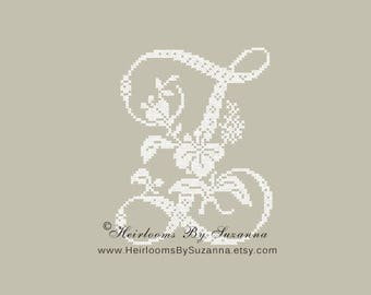 Large Antique Floral Monogram - Machine Cross Stitch Embroidery - Tropical Flower Initial - Cross Stitch Font - Floral Font Z - HBS-61-Z