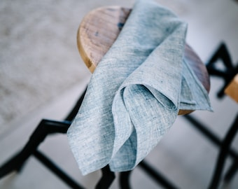 Blue pure linen kitchen towels, linen tea towels, natural linen towels