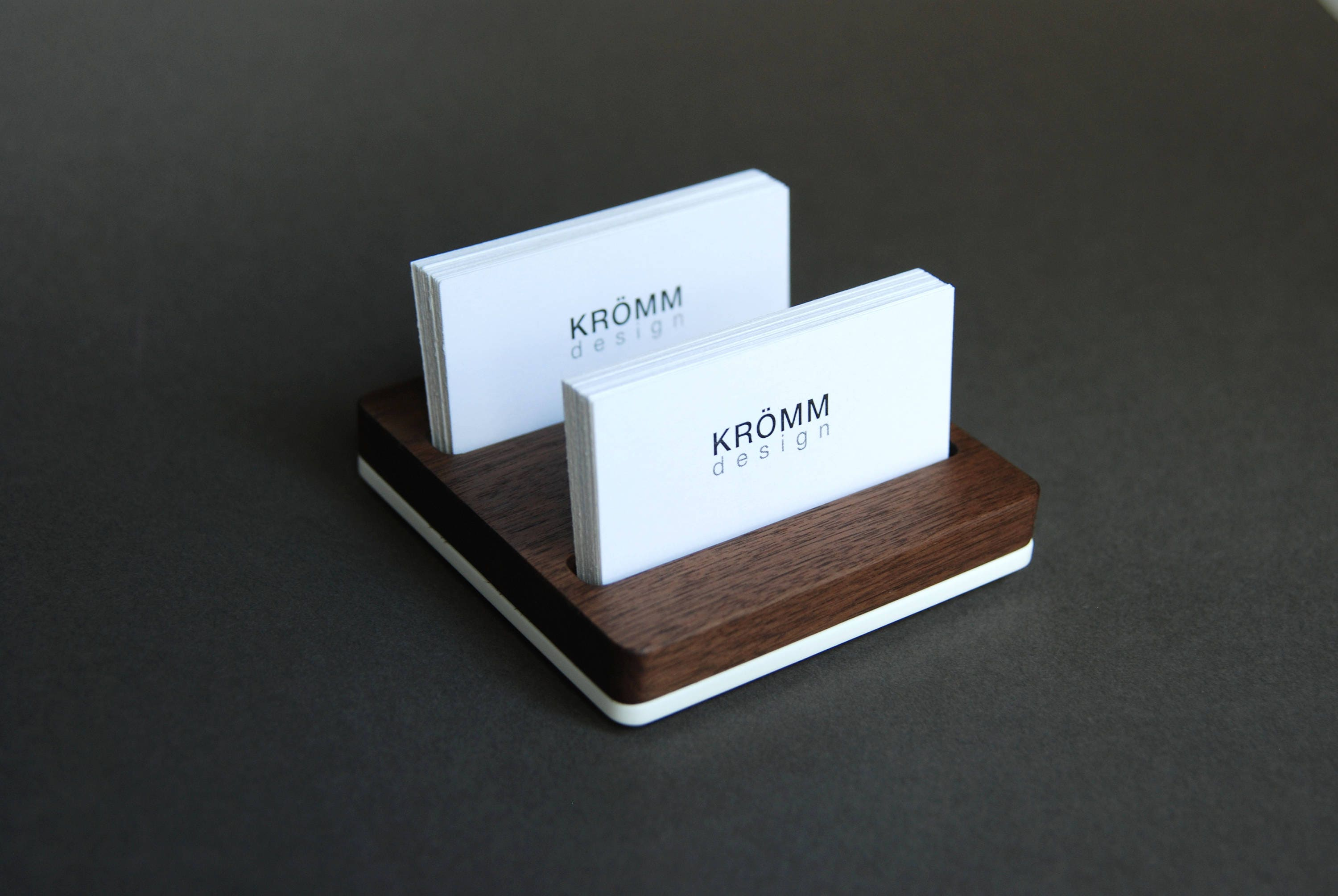 Wood TwoRow Business Card Holder for Front Desk Wood Business