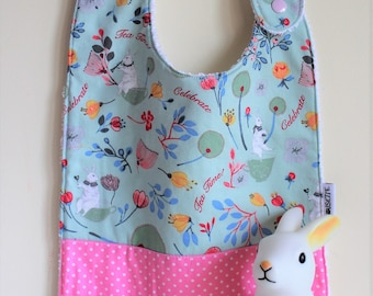 9-24 months bib flowers, bunnies and polka dots