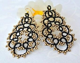 Black and gold chandelier tatted earrings   beaded earrings made in Italy   black lace jewelry  frivolite   lightweight earrings