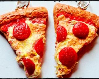 Realistic Pepperoni Pizza Slice Earrings - Miniature Food Jewelry - Pizza Earrings - Inedible Jewelry, Junk Food Jewelry,  Statement Jewelry