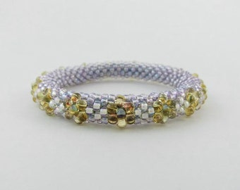 Bead Rope Blossom Bangle Honey Flowers on Lavender - Item 1214