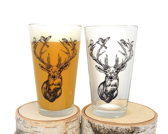 Deer with Birds in Antlers - Screen Printed Glass - Set of two 16oz. Pint Glasses