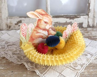 Vintage Easter Honeycomb Bunny Centerpiece, Beistle Easter Bunny and Eggs Decoration, Spring Home Decor, Paper Accordian Rabbit Easter Decor