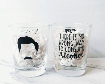 There IS No Wrong Way To Consume Alcohol - Ron Swanson Glass - Funny Whiskey or Bourbon Glass - Parks and Rec Drinkware - Double Sided Glass