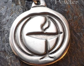 Flaming Chalice - Pewter Pendant - Unitarian Universalist - Spirituality Spirit Jewelry - Poured with care by hand in America