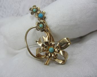 Delicate Gold Tone Finish Abstract Flower Brooch with Light Blue Celluloid Cabochon Features