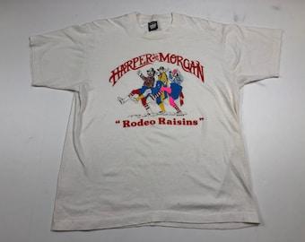 Vintage 1989 harper and morgan rodeo raisins t-shirt mens XL fits L screen stars hobo clowns