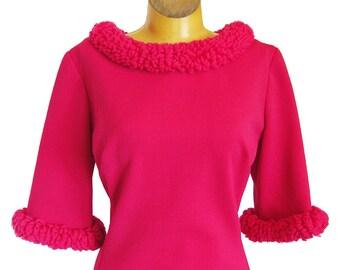 Vintage 1960s Dress Edith Flagg Bright Fuschia Pink A-Line Jersey Dress Yarn Faux Fur Neckline and Cuffs