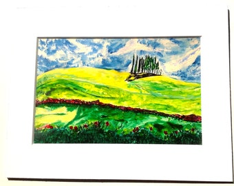 Landscape Watercolor Giclee Print Greens  Yellows  Blue  Red  Flowers Hills  Meadow  Italian  Cypress  Summer  Peaceful  Tranquil