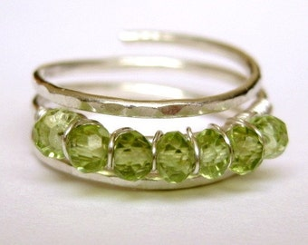 SIMPLY PERIDOT lime green sterling silver wire wrap ring custom sized and adjustable