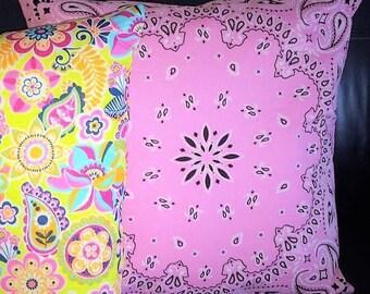 CLEARANCE! Pink Bandana Decorative Throw Pillow