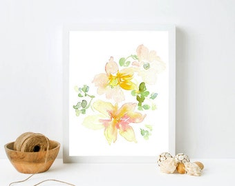 Framed Floral Print - Watercolor floral, Soft color art in frame, pale pink flowers, white framed print, neutral floral print, yellow