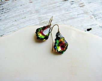 Colorful Baroque Crystal Earrings, Crystal Jewel Earrings, Faceted Crystal Earrings, Gold-filled Earrings, Gold Earrings