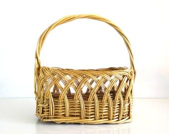 Vintage Open Weave Basket / Large Handmade Basket