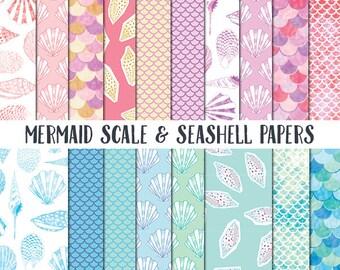 Mermaid Scrapbook Paper, Seashell Paper, mermaid scales background papers, sea shell digital paper