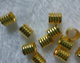 100 Golden Dreadlock Beads Adjustable Hair Braid Cuff Clip 8mm Hole 215