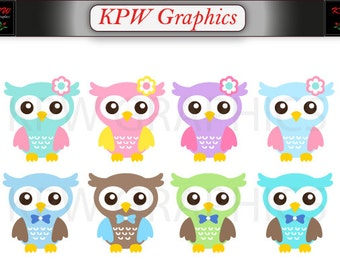Colorful Rainbow Cute Owls Clipart Set in a PNG format. Personal & Small Commercial use (087)