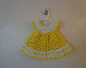 Baby girls crochet lacy dress. Soft Yellow yarn