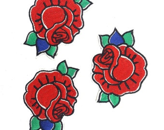 Embroidered Iron on Roses Patches, Hot Fix Red Flower Appliques, Fast Adhesive Flowers