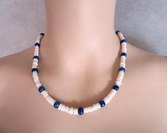 Wonderful  Necklace, made with blue Freshwater Beads and white Heishi Beads.