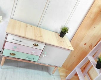 NOT AVAILABLE. Sideboard Dresser dorm room, auxiliary table T.v lounge Nordic-style design branches pastel colors.