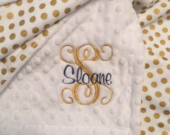 White and Gold Dot Baby Blanket