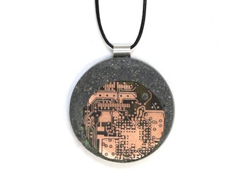 Handcrafted Concrete Jewelry Pendant with Copper Circuit Inlay