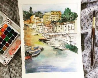Italian harbor landscape   watercolor painting   8x10 print