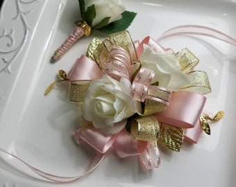 Pink Gold Ivory Wrist Corsage Comes With Matching Boutonniere READY To SHIP  Pink Gold Prom Set Artificial Flowers. BLUSH. On Sale