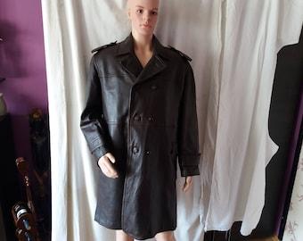 Vintage Bulgarian Army Brown Leather General Fur Coat