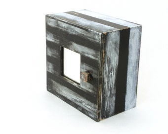 Key box, Black and withe box, Key cabinet, Black wall hanging wooden box, Wood box,Organizer box, Wall cabinet, White stripes, Gift ideas