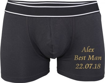 Personalised with date & name Best man/Father of the bride/Groom Wedding Day Boxer shorts Gift underwear
